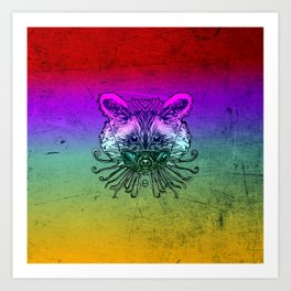 Cool Raccoon Color Art Print