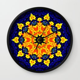 Yellow Orange Floral Madala  Background Dark Blue Wall Clock