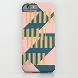 Modern Lines and Triangles Design in Blush, Teal, and Gold iPhone Case