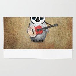 Baby Penguin Playing Maltese Flag Acoustic Guitar Rug