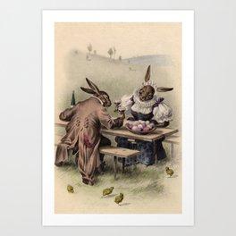 Easter bunnies - Vintage Illustration Art Print