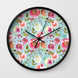 pink and blue watercolor peonies Wall Clock