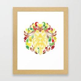 Lion Zion Religion Rastafarian Dreadlocks Marijuana design Framed Art Print
