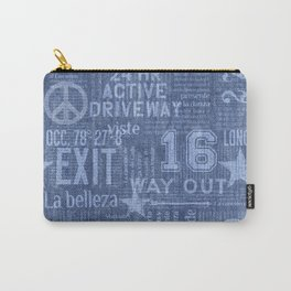 Blue Jeans Denim With Print Carry-All Pouch