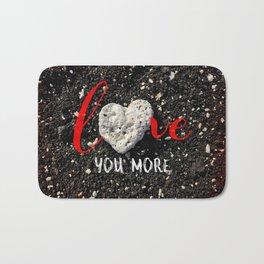 """Love You More"" Hawaii Beach with Coral Heart Photo Bath Mat"