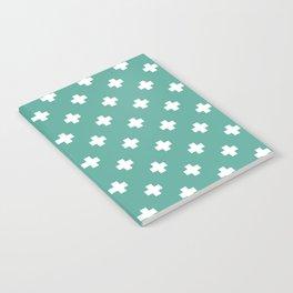 White Swiss Cross Pattern on Green Blue background Notebook