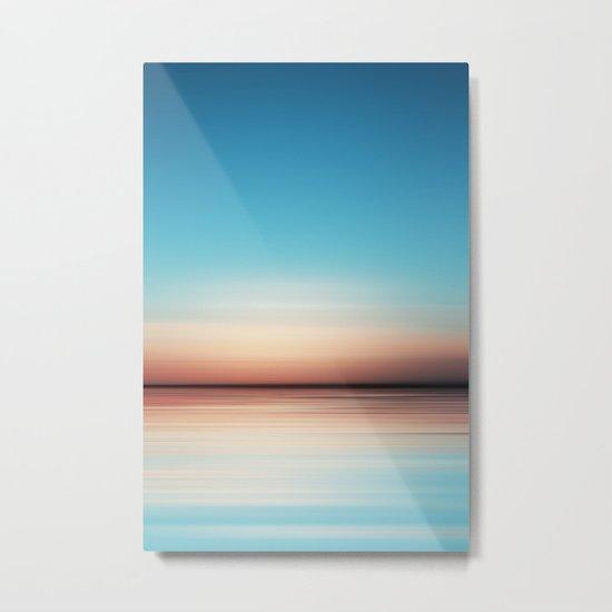 Blue Sunset Beach Metal Print
