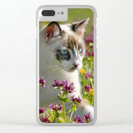cat among wild flowers Clear iPhone Case