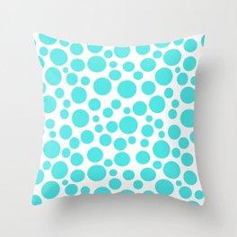 Turquoise polka dots on a white background . Throw Pillow