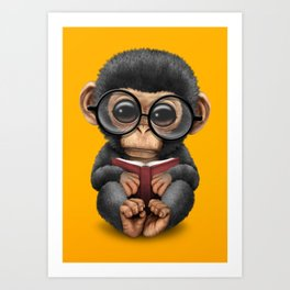 Cute Baby Chimp Reading a Book on Yellow Art Print