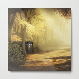 Tardis Light Art In The Forest Metal Print