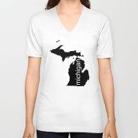 michigan V-neck T-shirts featuring Michigan by Isabel Moreno-Garcia