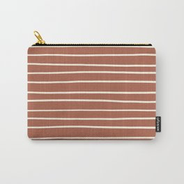 Dover White 33-6 Hand Drawn Horizontal Lines on Red River 4-21 Carry-All Pouch