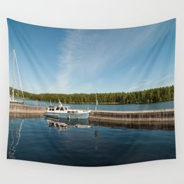 Boats at the Dock Wall Tapestry