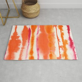 Abstract ink, orange and red lines Rug