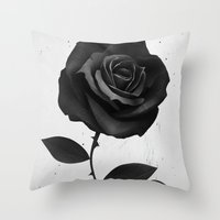 fabric Throw Pillows featuring Fabric Rose by Ruben Ireland