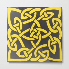 Decorative Charcoal Grey Color Yellow Celtic Art Metal Print