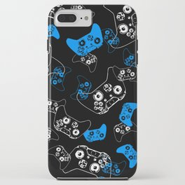 Video Game Blue on Black iPhone Case