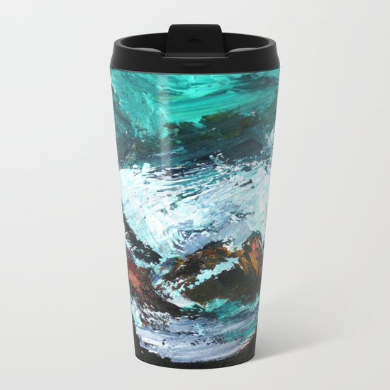 Pacific Ocean Rocks Seascape Metal Travel Mug
