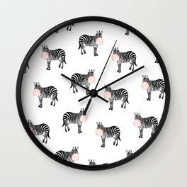 Zebra, Bubble gum, Minimal, Scandinavian, Abstract, Pattern, Modern art Wall Clock