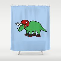 roller derby Shower Curtains featuring Roller Derby Triceratops by Jez Kemp