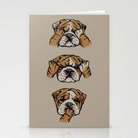 english bulldog Stationery Cards featuring Noevil English Bulldog by Huebucket