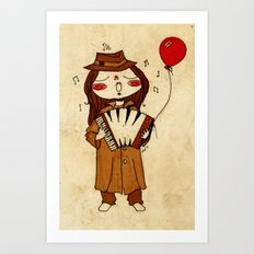 Accordion and Red Balloon Art Print