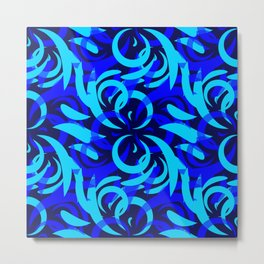Repeating pattern of blue and azure petals of cornflowers and daisies. Metal Print