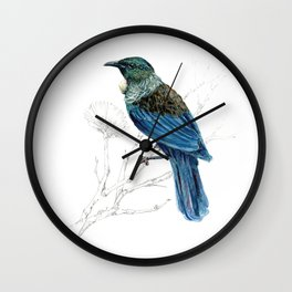 Tui, New Zealand native bird Wall Clock