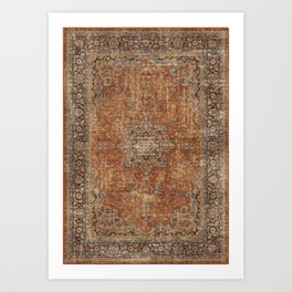 Antique Persian Mustard Rug Art Print