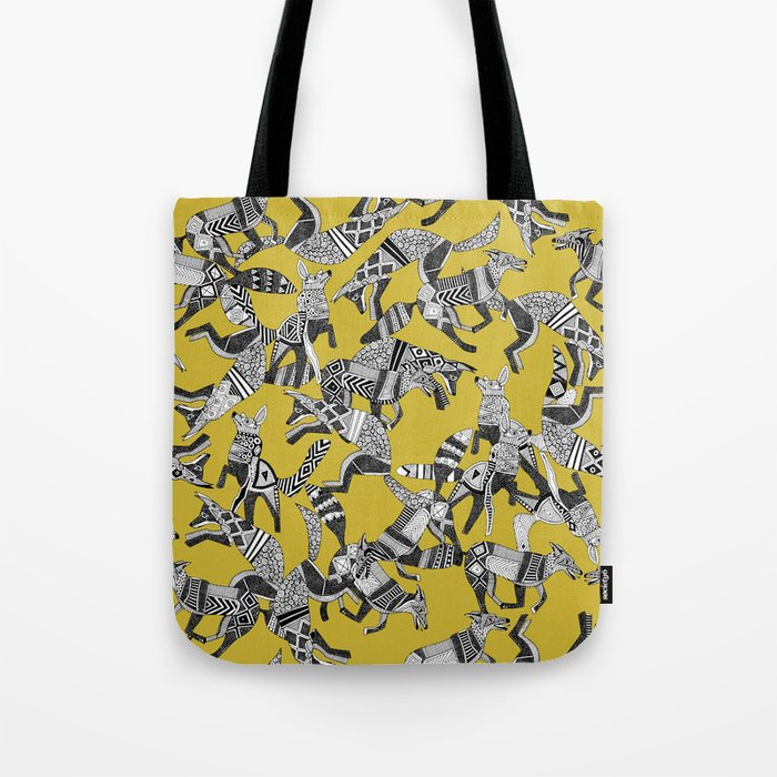 woodland fox party ochre yellow Tote Bag