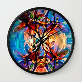 Blue Floral Poetry Wall Clock