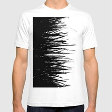 Concrete Fringe Black on Side Mens Fitted Tee SMALL White