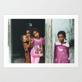 At the door (Moluccas, Indonesia) Art Print