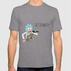 Rick and morty Get schwifty Mens Fitted Tee LARGE Tri-Grey