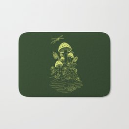 Mushroom, Frogs and Crystals with Dragofly Bath Mat