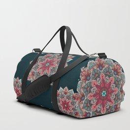Winter holidays doodles mandala design Duffle Bag