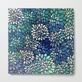 Stain Glass Floral Abstract - Blue-Green Metal Print