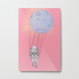 The Moon-Man Floating Through the Pink Universe Metal Print