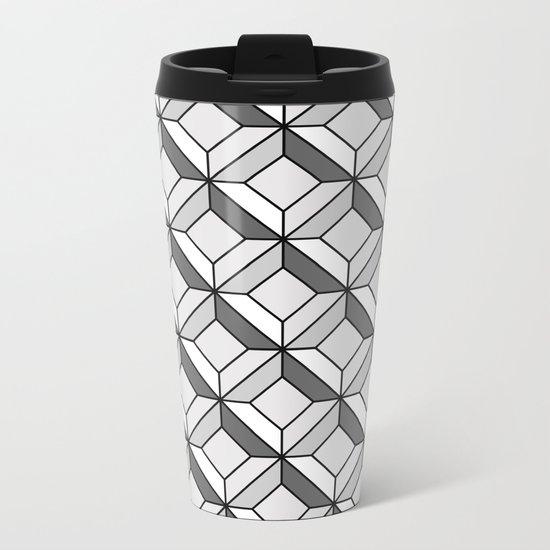 Squares in Gray Metal Travel Mug