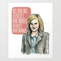 leslie knope Art Prints featuring Leslie Knope by Tiffany Willis