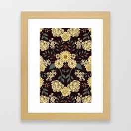 Teal, Cream, Red, Orange & Brown Flowers - Pretty Floral Pattern Framed Art Print