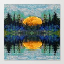 HARVEST MOON WILDERNESS LAKE LANDSCAPE Canvas Print
