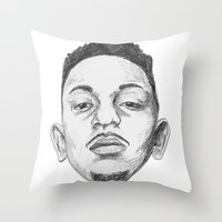 kendrick lamar Throw Pillows featuring Kendrick Lamar by Omar Guzman