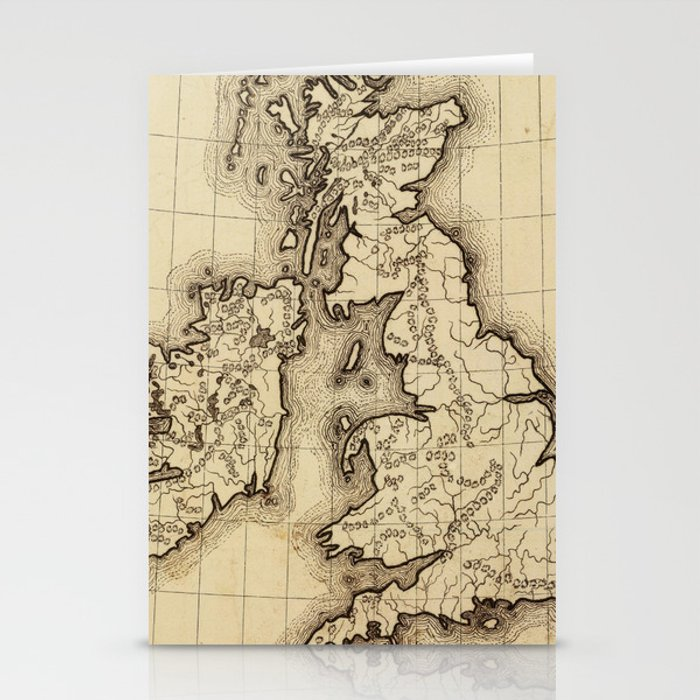 Vintage Map of The British Isles (1850) Stationery Cards by bravuramedia