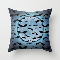 Throw Pillows featuring Bats in the Moonlight by FarrellArt