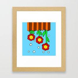 Inchie Clip - Hanging Flowers Blue Framed Art Print