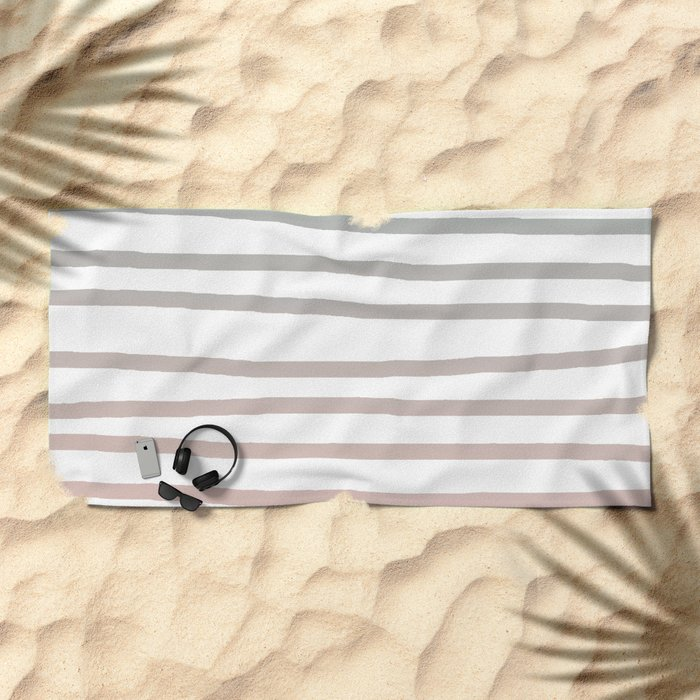Simply Drawn Stripes in Coral Peach Sea Green Gradient Beach Towel