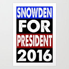 Snowden For President 2016 Art Print
