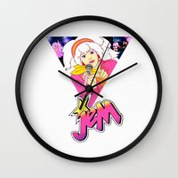 jem Wall Clocks featuring JEM AND THE HOLOGRAMS by Ylenia Pizzetti